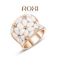 24k weißgold gefüllte schmuck großhandel-2016 einzigartiges Design Österreichischen Kristall Weiße Blume Ringe Marke Hochzeit Verlobungsring 24 Karat Roségold Gefüllt Modeschmuck A051