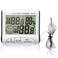 Wholesale 100pcs Clock LCD Digital Hygrometer Humidity Thermometer Temp Meter Outdoor Indoor