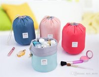 Wholesale Elegant Chinese Traditional - New Korean elegant large capacity Barrel Shaped Nylon Wash Organizer Storage Travel Dresser Pouch Cosmetic Makeup Bag For Women
