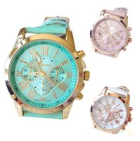 Wholesale Birthday Gift Watches For Women - Fashion Geneva Quartz Wristwatches with Metal Case & Faux Leather Watchband Colorful Watches for Women Christmas Birthday Gifts