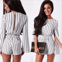 Wholesale Short Pant Jumpsuits For Women - 2016 new chiffion dresses for women fashion Women's Jumpsuits Black and white stripes Rompers Waist sleeveless cloak Siamese pants s-xl