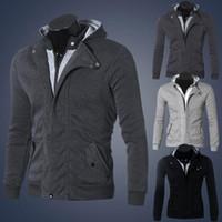 camisa de vestir negro gris al por mayor-Hot Men's Casual Hoodie Dress Shirts Black Grey Autumn Winter Warm Cotton Jacket Shirt Ropa de marca masculina Sudadera de manga larga para hombre M-3XL