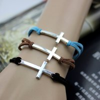 Wholesale Cheap Handmade Crosses - 2015 hot classic charm bracelets Fashion handmade cross Weave Leather Cord Bracelet bangle Cheap jewelry bracelets for men and women