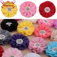 "Wholesale chiffon flowers pearl diy - Nishine 4"" Fashion Chiffon Flower with Pearl Button Center DIY for Baby Headband Girls Hair Accessories"