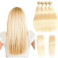 blonde seidenverschlüsse großhandel-Brazilian Virgin Hair 4 Bundles mit Verschluss # 613 Blond Seide glattes Haar Jungfrau brasilianischen Haar blonde Spitze Schließung mit Bündeln