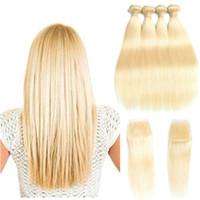 Wholesale blond hairs resale online - Brazilian Virgin Hair bundles with closure Blond Silk straight hair virgin brazilian hair blonde lace closure with bundles