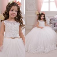 Wholesale Christmas Ball Top - Cheap Princess White Ball Gown Flower Girls Dresses 2016 Sheer Neck Lace Top Sleeveless Appliqued Floor Length Tulle Girls For Wedding Party