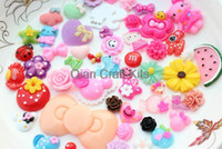 Wholesale wholesale kawaii cabochons - 250pcs Mixed Cabochons Sweet Decoden Kit mix kawaii Cabochon flat back Embellishments resin Assorted DIY Flatback pick color