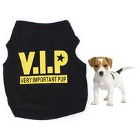 Wholesale Cotton Blend Black Vests - Wholesale-Dog Puppy Clothing Black Cotton Blend T-Shirt VIP Pattern Vest Teddy Pet Clothes Free&DropShipping