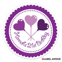 Wholesale 100pcs mm Personalised Birthday Stickers Labels Select name and colour P001