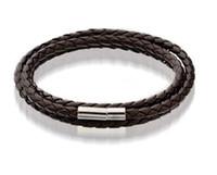 bracelet magnétique noir achat en gros de-Bracelet en cuir pour hommes Bracelet noir / marron à mailles en acier inoxydable avec fermoir magnétique double bracelet beau bracelet en titane pour hommes