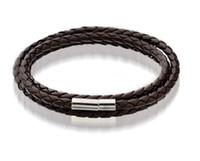 Wholesale Mens Leather Bracelets Brown - Mens Leather Bangle Bracelets Black Brown Mesh Magnetic Stainless Steel Clasp Double Wrap Wristband Beautiful Titanium Bracelet for Men