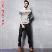 Wholesale Gray Pants Fashion - New Korean Mens Slim Jeans Pants Gray Denim Trousers for Men Fashion Mens High Quality Jeans Pants Men Cotton Free Shipping FG1511