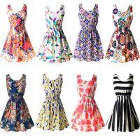 Wholesale Pink Sundress Women - Wholesale-2016 New Summer Women Tank Chiffon Beach Dress Sleeveless Sundress Floral Mini Dresses M L XL XXL 21 Colors
