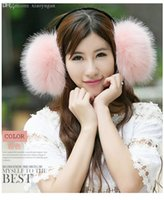 Wholesale Large Fur Muff - Wholesale-A large imitation fox fur fashion warm earmuffs 2015 winter on earmuffs must-have fashion style Hot style Package mail (EAR-12)