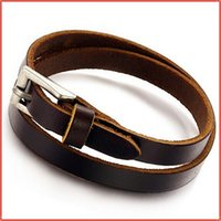 Venda por atacado-2015 New Fashion Top Cow Leather Bracelet Men, Unique Stylish Braceletes Mens Braceletes, Charme Braclet Braclet Pulseras