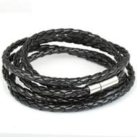 Wholesale Mens Leather Id Bracelets - Wholesale-2015 Hot Selling Fashion ID Bracelets For Men Women Stainless Steel Brown Leather Mens Bracelet