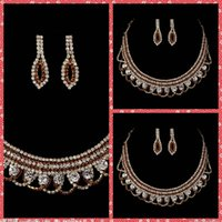 Wholesale Crystal Necklace Sale Online - Top Sale Luxurious Bridal Necklace And Earring Sets Of Accessories For Bridal Wedding Party Events Beaded Crystal Adorned Cheap Sale Online