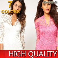 Wholesale Best Sexy Ladies Wear - Best Sale Stylish Charm Elegant Ladies Sweet Girl Vintage Tunic Sexy Party Pencil Hollow Lace Women Dress 7 Colors 4 Sizes W1128