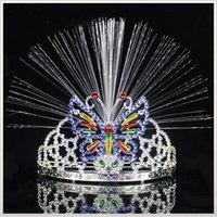 Wholesale Wholesale Animal Headgear - LED Colorful Light Crown Masquerade Christmas Party Headgear Butterfly Crown Fiber-optic Headband Mardi Gras Gifts YYA766