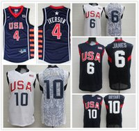 libero 2008 USA Dream Team # 6 LeBron James Jersey # 10 Kobe Bryant Basketball Maglie 2004 Atene 4 # Allen Iverson Jersey Throwback Cucita