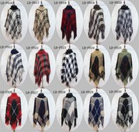 Plaid Poncho Grid Sweater Wraps Mulheres Capa Coats Vintage Shawl Cardigan Tassel Knit Scarves Tartan Winter Cape Cobertores 100 Pcs YYA764