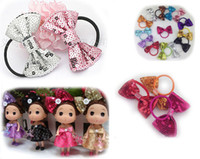 Wholesale Elastic Bows For Gifts - XMAS GIFT ! New arrival 3inch sequin bows with same color elastic headband for pony tail holder,girls bows headband for children 70pcs