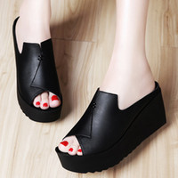 Wholesale Patent Wedge Black - 2017 Women Wedge Sandals High Heel Platform Women Summer Shoes Patent Leather comfortable shoes
