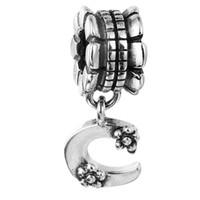 Wholesale spike c resale online - Alphabet Dangle C Sterling Silver Beads Fit Pandora Charms Bracelet Authentic DIY Fashion Jewelry