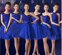Wholesale Dresses F - Royal Blue Fashion Short Lace Tulle Ball Gown Sweetheart Bridesmaid Dress with Flower 2018 6 Style A-F