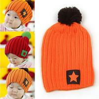 Wholesale Star Beanies Baby - New Unisex Boy & Girl Baby Kids Sweet Five-Star Hat Children Knitted Warm Hat Beanie Hat Cute Knitting Head Cap