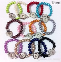 Wholesale Wholesale Glass 8mm Pearls - Hot sales 8MM Glass Pearl 15cm Length Elastic Rope Snap Button Bracelet 18mm Jewelry for Children 30PCS lot