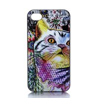 Wholesale Hard Case Cat Iphone - Wholesale Colour Cat Head Design Hard Plastic Mobile Phone Case Cover For iPhone 4 4S 5 5S 5C 6 6plus