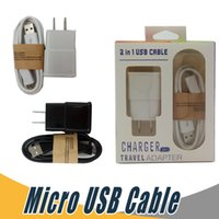 Wholesale 5v Usb Cable - Wall Charger Micro USB Data Cable Travel Adapter US EU 5V 2A Kits 2 In 1 with Retail Package For Samsung LG Mobile Phone