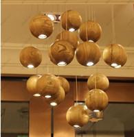 Wholesale Ems Pendant Light - EMS Ship Solid Wood Globe Pendant Lamps LED Simple Pendants Lights 110V 220V G4 Wood Ball Ceiling Pendant Lamp