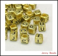 Wholesale Square Alphabet Beads - Wholesale-6x6mm 500pcs Acrylic Beads, Lovely Jewelry! Gold Plated Random Mixed Letter  Alphabet Cube Square Acrylic Spacer Beads