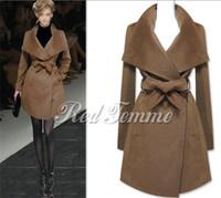 ingrosso giacca militare a doppio seno-Inverno elegante militare donne Cashmere Slim Nibbuns lungo doppio petto cappotto di lana Lady Jacket Coat Outwear Nero / Marrone / Blu scuro XS-XL