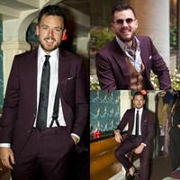 trajes de boda púrpura oscuro para hombre al por mayor-Tuxedos para hombre Slim Fit trajes de boda Nuevo 2015 Party Dark Purple novio padrinos de boda formal por encargo novio (Jacket + Pants + Tie)