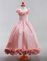 echte probe blumen linie großhandel-Prinzessin maßgeschneiderte Real Sample a-line scoop bodenlangen Taft Blumenmädchen Kleid
