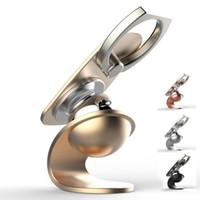 carregador de telefone multi para carro venda por atacado-Multi-função de Metal Car Phone Holder Suporte ímã de sucção 360 graus Rotating Anel Fivela Bracket Painel Magnetic