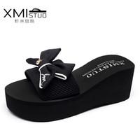 Wholesale Black Tap Shoes Women - XMISTUO Brand Women Butterfly Pantoufles Mules Shoe Bow Shale Beach Sandals Ladies Platform 7.2cm Female Tap Wedges Slippers