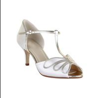 Wholesale Womens Shoes Size 14 - White T Strap Wedding Shoes For Bridal 2016 8cm Custom Made Plus Size Ladies Party Dresses Hot Sale Womens Sandals Cheap Modest Bridal