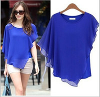 Loose Chiffon Bat Sleeve Tees Tops Fashion New Women Elegant Solid Irregular Design T-Shirts Tops Women Summer Women Clothes