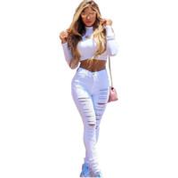 venta de polainas para mujer al por mayor-Venta caliente nuevas mujeres denim Ripped Hole Punk pantalones recortados famosos rectos de algodón Denim Jeans Leggings pantalones