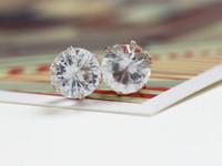 ingrosso tagli diamanti brillanti-Orecchini in cristallo 8MM Orecchini in oro con diamanti a taglio brillante placcati in oro zircone per le donne Gioielli da sposa di moda