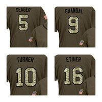 Wholesale women red service - Men Women Youth Toddler Los Angeles 5 Corey Seager 9 Yasmani Grandal 10 Justin Turner Andre Ethier Green Salute to Service Stitched Jerseys