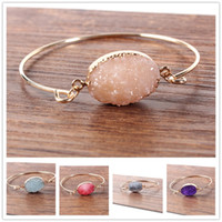 Wholesale Irregular Bangle - Fashion druzy drusy bracelet gold plated oval Irregular imitate natural stone bracelet bangle for women jewelry