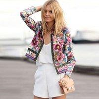 Wholesale Beige Women Short Coats - 2015 New Fashion Free Shipping O-neck Long Sleeve Vintage Floral Printed Women Short Jackets Coat Outerwear zipper Parka Jacket
