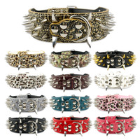 Wholesale extra large dog collar leather mastiff for sale - Group buy 2 inch Dog Collars Leather Spiked Studded Dog Collar For Pitbull Mastiff Large Breeds