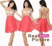 bir omuz boncuklu mini elbise toptan satış-En Çok Satan 2019 Lüks Mercan Balo Kokteyl Elbiseleri ile Bir Omuz A-Line Boncuklu Pileli Kısa Parti Elbiseler Kadınlar için